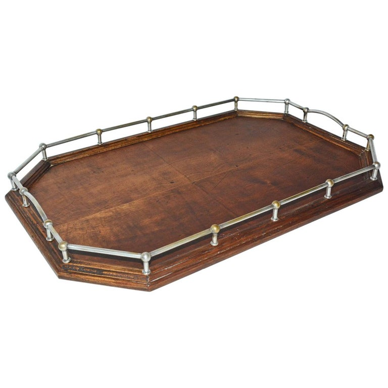 Vintage Wood Gallery Serving Tray For Sale
