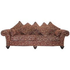 Three-Four Seat Bernhardt Sofa with Spilt Panel Feather Cushions Chesterfield