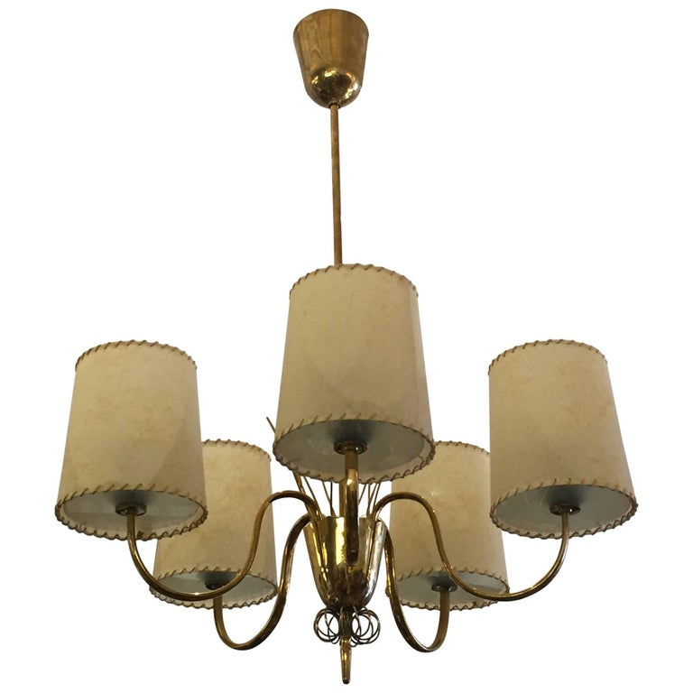 Paavo Tynell for Taito Oy Brass Chandelier, Model 9032