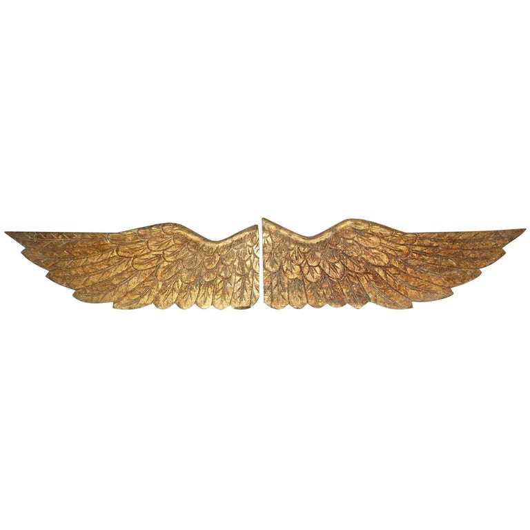 Pair of Gilded Angel Wings For Sale
