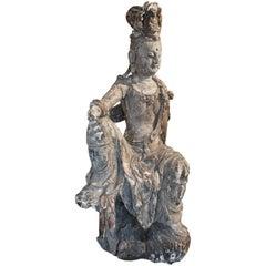 19th Century Lifesize Wooden Buddha
