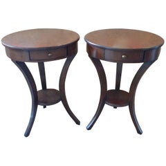 Two French 1970s Walnut Stained Round Side Tables with One Drawer and One Shelf