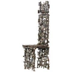 Chair by Salvino Marsura, Hand-Forged Wrought Iron, Late 20th Century
