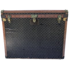 Goyard Trunk in Black Monogram Canvas, circa 1930, French Luggage