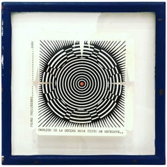 Rare Wood Block Cut by Pedro Friedeberg in Original Frame, 1970