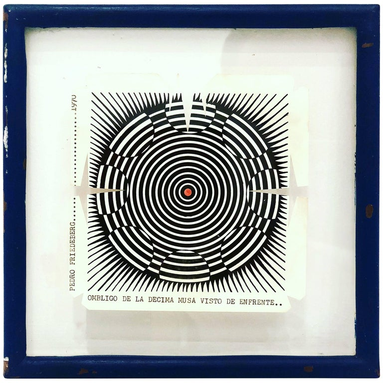 Rare Wood Block Cut by Pedro Friedeberg in Original Frame, 1970 For Sale