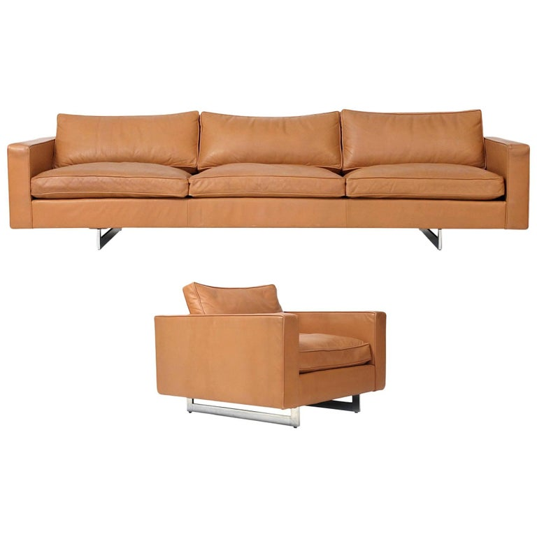 Rare Leather Sofa and Chair Set by Jens Risom