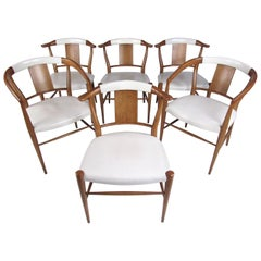 Set of Midcentury Leather Dining Chairs by Heritage Henredon