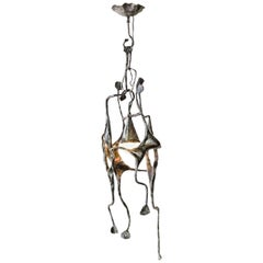 Ceiling Light by Salvino Marsura, Hand-Forged Wrought Iron, Late 20th Century