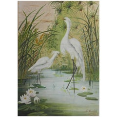 19th Century Painting on Silk Cranes Signed Ines Maisonnabe Chinoiserie