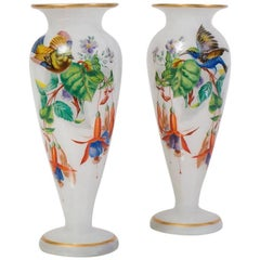 Pair of French Painted Opaline Glass 19th Century Vases