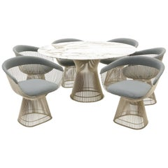 Marble Dining Table and Six Chairs by Warren Platner for Knoll