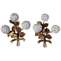 Pair of Brass Hydrangea Wall Sconces by Palladio