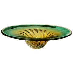 Large Murano Sommerso Green Yellow Centrepiece Bowl