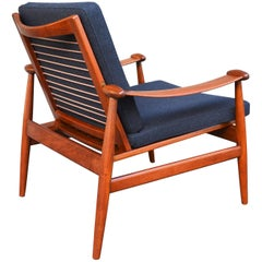 Finn Juhl Danish Modern Teak Restored Spade Lounge Chair, Charcoal Wool