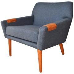 Kurt Ostervig for Rolschau Restored Teak Base Lounge Chair Adjustable Arm Rests