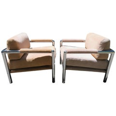 Pair of Milo Baughman Style Heavy Chrome Suede Lounge Chair Midcentury