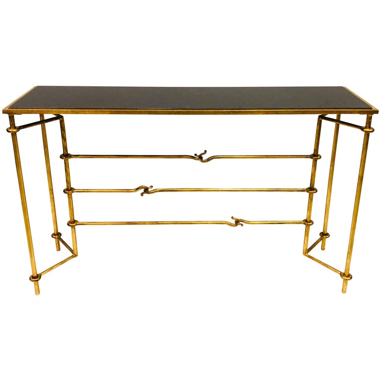 Italian Modern Neoclassical Gilt Iron Console by Giovanni Banci for Hermes