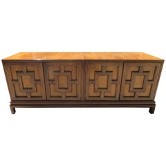 Handsome Renzo Rutuli Asian Modern Lattice Front Credenza Midcentury