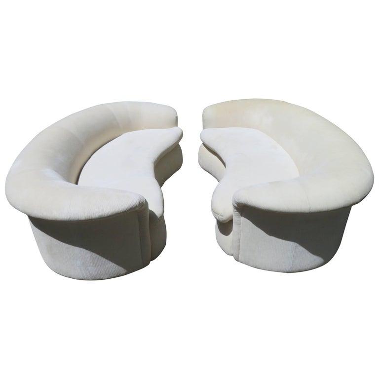 Lovely Pair of Vladimir Kagan Style Kidney Shaped Curved Sofa Mid-Century Modern