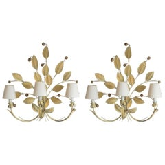 Pair of Large Iron Handcrafted Foliage Three-Light Wall Sconces, 1960s