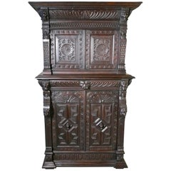 19th Century Carved Oak Housekeepers or Hall Cupboard