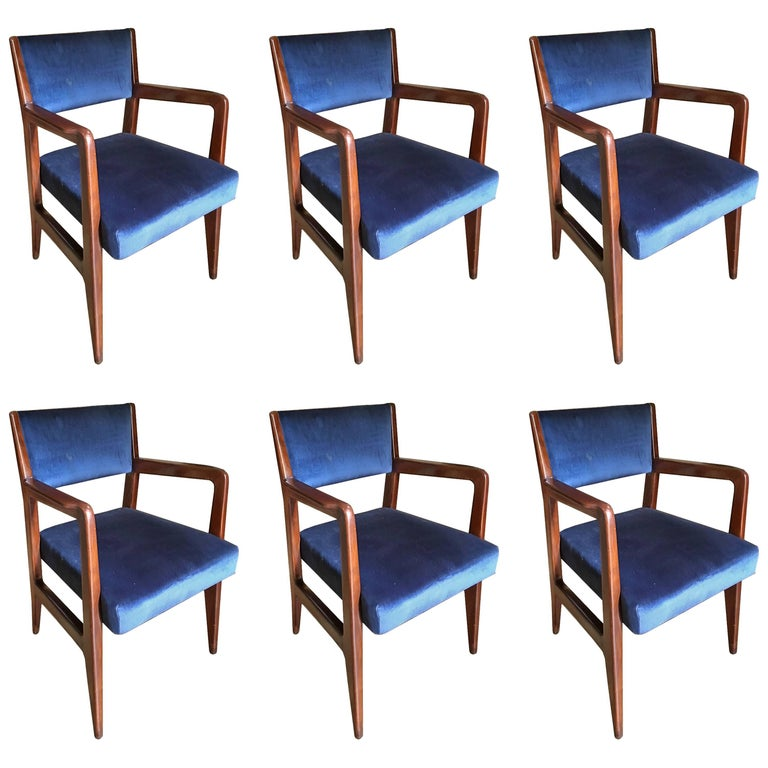 Six Chairs, Design Gio Ponti, 1950, Italy, Augustus Ship For Sale