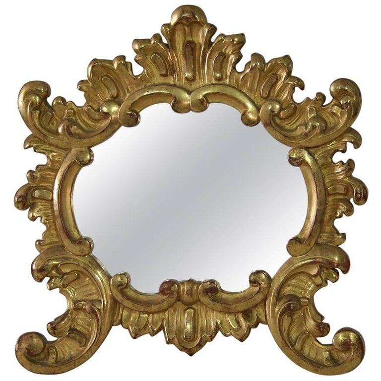 Small 19th Century Italian Giltwood Baroque Style Mirror