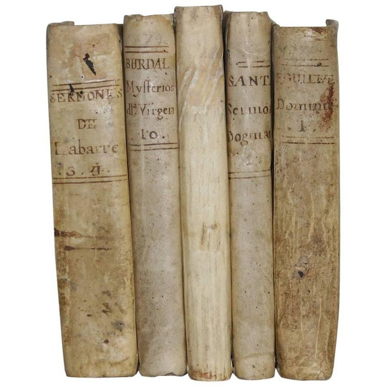 Nice Collection of 18th-19th Century Weathered Spanish Vellum Books