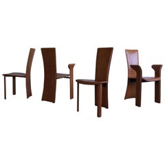 Frag, Set of Four Cognac Colored Leather Dining Chairs, circa 1980s
