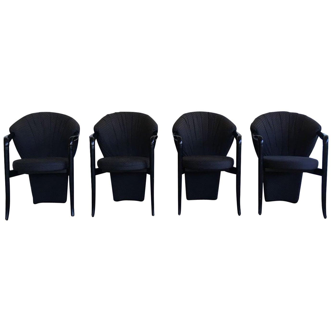 Pietro Constantini, Set of Four Black Elegant Dining Room Chairs, 1980s