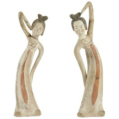 Two Ancient Dancer Figurines in Terracotta, Chinese