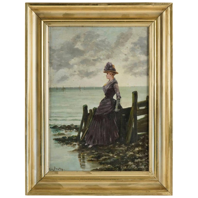 """Oil on Canvas Painting by Leon Breton, """"Elegant Woman at the Ocean Side"""""""