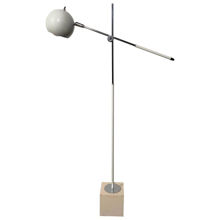 Mid-Century Modern Fully Adjustable White Floor Lamp by Robert Sonneman