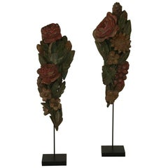 Pair of French 18th Century Hand-Carved Baroque Wooden Bouquet Ornaments
