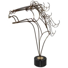 Large Mid-Century Modern C Jere Wire Horse Sculpture on a Black Marble Base