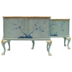 Pair of Lacquered Chippendale Style Sideboards, circa 1950