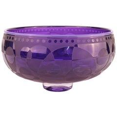 Op-Art Purple Art Glass Etched Bowl, Signed