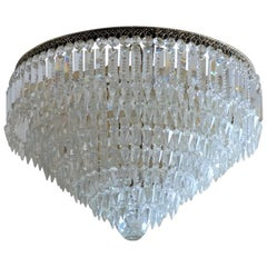 Early 20th Century French Hand-Cut Crystal Seven-Light Flush Mount or Chandelier