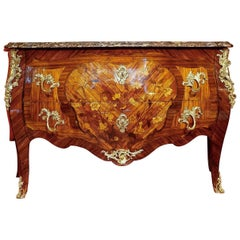 Large French Louis XV Style Commode with Floral Marquetry, circa 1850