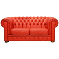 Wonderful Italian Red Leather Chesterfield Sofa in the Style of Poltrona Frau