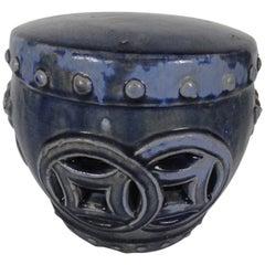 19th Century Blue Garden Seat