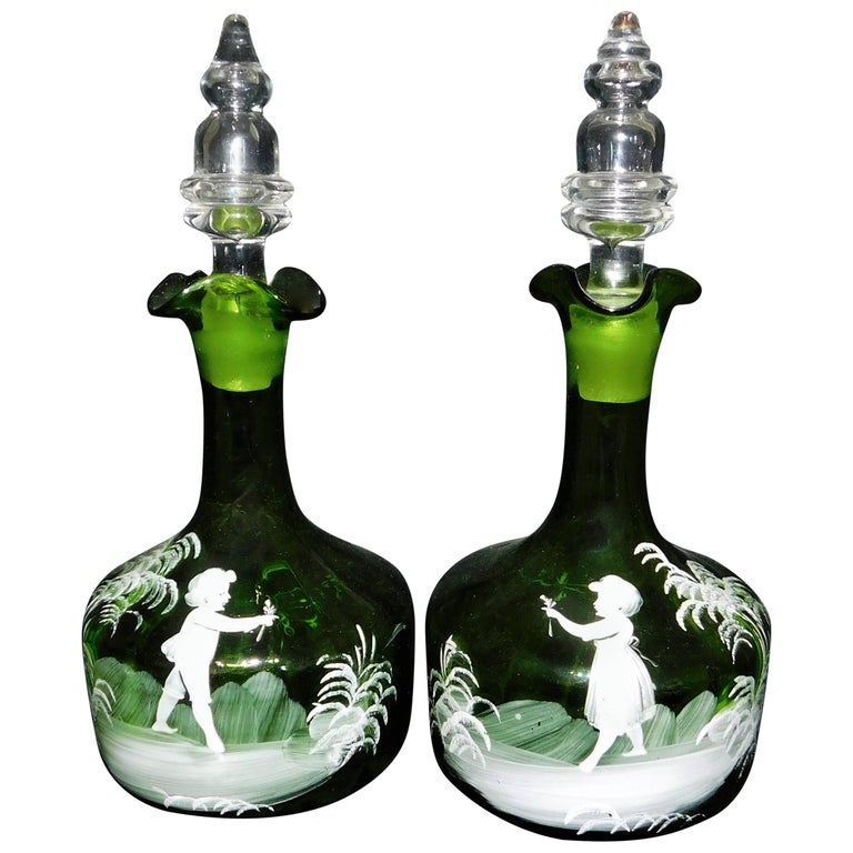 Pair of Antique Victorian Mary Gregory White Enameled Green Glass Decanters