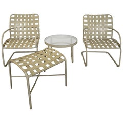 Mid-Century Modern Brown Jordan Patio Set Pair Bouncy Chair Ottoman Side Table
