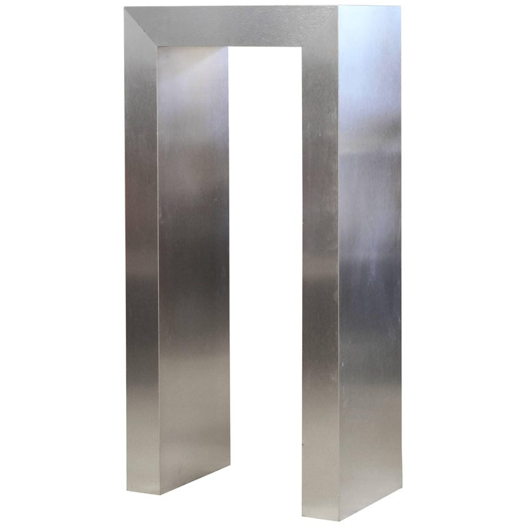 Modernist Square Arch Aluminium Clad Sculpture Display Pedestal For Sale
