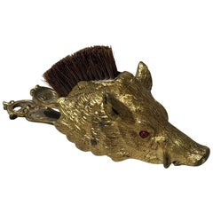 Boar's Head-form Victorian Letter Clip with Brush