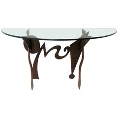 Pucci De Rossi Metal and Glass Console Table, 1987