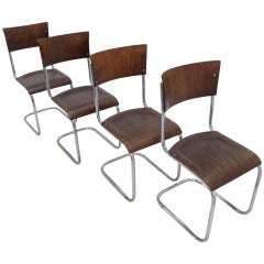 Set of Four Chrome Bauhaus Chairs, Mart Stam