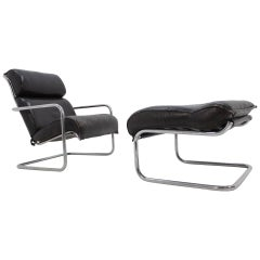 Set of Leather Design Lounge Chair and Footstool