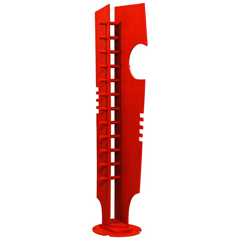 Tall Abstract Red Wood Sculpture by Edward Toledano, British, 20th Century For Sale